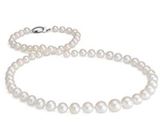 Graduated Freshwater Cultured Pearl Necklace with 14k White Gold #BlueNile #MothersDay #jewelry