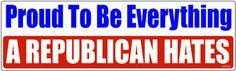 Proud To Be Everything A Republican Hates Democrat Bumper Sticker STI-0655