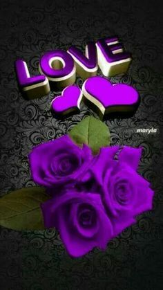 Purple love sign, hearts and roses. So pretty. Purple Love, All Things Purple, Shades Of Purple, Deep Purple, Purple Flowers, Red Roses, Purple Stuff, Purple Hearts, Pastel Roses