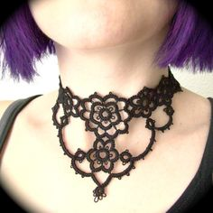 Tatted Choker Necklace - Grand Victorian Daisy Two.