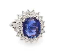 A Platinum, Sapphire and Diamond Ring, 7.80 dwts. - Price Estimate: $5000 - $7000