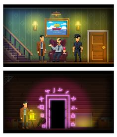 """""""Sample shot from the super low rez adventure game I worked on for today's 2d Game Art, Video Game Art, Game Design, Design Art, 8bit Art, Polygon Art, Pixel Art Games, Pixel Design, Environment Concept Art"""