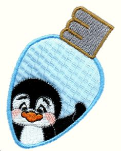 Threadsketches' set Light Lookin' - Christmas machine embroidery design, penguin light dbulb