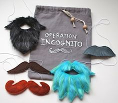 mustaches from felt and fur. This would make such an awesome gift.
