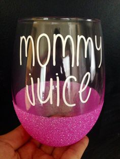 Custom Glittered Wine Glass// Mommy Juice// Stemless by TheGlitteredPeaPod on… Wine Bottle Glasses, Glitter Wine Glasses, Painted Wine Glasses, Wine Bottles, Vinyl Glasses, Custom Wine Glasses, Wine Glass Crafts, Wine Craft, Wine Bottle Crafts