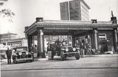 Fire truck at Bergeron's Gulf Station, Fifth Street and Murray Street, Alexandria, Louisiana (circa 1937)