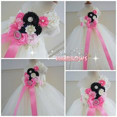 Ivory Flower girl dressIvory Navy and pink  door GlitterMeBaby