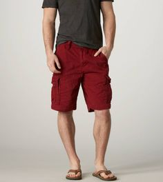 AE AEO77 Cargo Short *Probably the same guy from before, but now with a darker pallet of colors; this time the cargos being red with a gray shirt.
