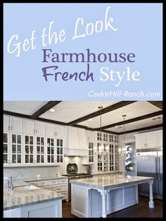 """My new country French kitchen. Come on over and I'll take you for a tour. From the reclaimed beams I hand selected to the Thermador 48"""" gas range. And find out how I got the look of a sub zero for THOUSANDS less! www.cedarhillfarmhouse.com"""
