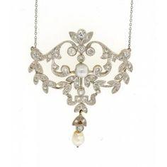 Antique Pearl & Diamond pendant Platinum & 14K Circa 1910