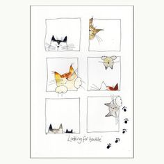 Looking For Trouble Cat Print - Cats & Kitten - Katzen Gato Doodle, Doodle Art, Easy Watercolor, Watercolor Paintings, Watercolour, I Love Cats, Crazy Cats, Cat Quilt, Happy Paintings