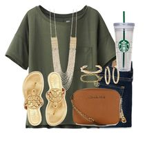 """The sun is up, the sky is blue, it's beautiful and so are you."" by kaley-ii ❤ liked on Polyvore featuring Abercrombie & Fitch, Uniqlo, Panacea, Tory Burch, MICHAEL Michael Kors, J.Crew and Kenneth Jay Lane"