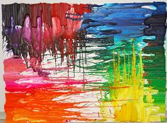melting crayon art projects | melted crayon art raining colors melted crayon on canvas 18 inches by ...