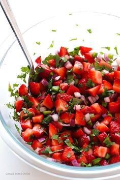 Sommersalat deluxe - Erdbeer Salat mit nur 5 Zutaten *** Ingredient Strawberry Salsa recipe