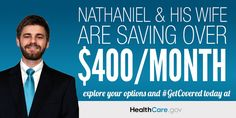 Nathaniel and his wife are saving over $400/month. Explore your options and #GetCovered today at HealthCare.gov.