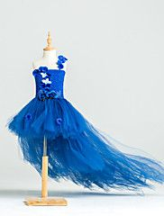 Ball+Gown+Asymmetrical+Flower+Girl+Dress+-+Tulle+/+Stretch+Satin+/+Polyester+Sleeveless+One+Shoulder+with+–+USD+$+200.00