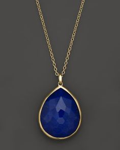 IPPOLITA 18K Gold Large Teardrop Lapis Doublet Pendant Necklace, 16"