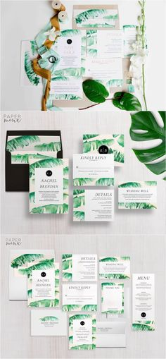 Wedding Invitation | Tropical Wedding Invitation Suite | Tropical Invitation | Banana Leaf Invitation | Printed Wedding Suite | Rachel