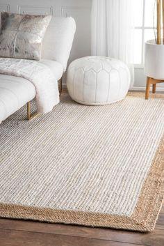 Rugs USA White Maui Jute Simple Border rug - Casuals Rectangle x Best Carpet, Diy Carpet, Rugs On Carpet, Hall Carpet, Cheap Carpet, Stair Carpet, White Carpet, Patterned Carpet, Living Room Carpet