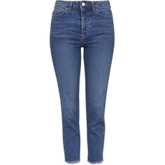 TOPSHOP MOTO Raw Hem Straight Jeans (94 CAD) ❤ liked on Polyvore featuring jeans, pants, bottoms, topshop, indigo, blue jeans, mid rise straight jeans, straight leg jeans, indigo blue jeans and mid rise jeans