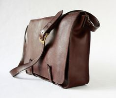 """MESSENGER BAG in dark brown leather/briefcases and attaches/15"""" men's briefcase/leather  briefcase/laptop satchel/for him/for her"""