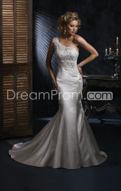 Gorgeous Trumpet/Mermaid One-shoulder Floor-Length Chapel Appliques Wedding Dresses