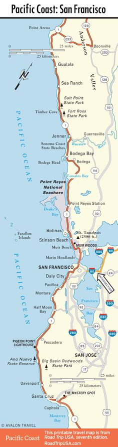 Map of Pacific Coast through San Francisco.