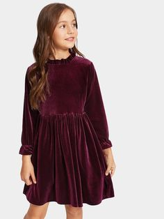 Shop Toddler Girls Frill Trim Zip Back Velvet Dress online. SheIn offers Toddler Girls Frill Trim Zip Back Velvet Dress & more to fit your fashionable needs. Girls Party Dress, Toddler Girl Dresses, Little Girl Dresses, Baby Dress, Girls Dresses, Toddler Girls, Fashion Kids, Kids Winter Fashion, Classy Outfits