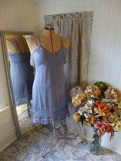 Glam Garb Slip Dress Misty Silver Grey Bra Size 36/38 Handmade USA Romantic Victorian Steam-punk Vintage Hand Dyed Retro Embellished OOAK, $60.00  www.glamgarb.com