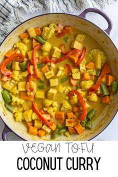This simple and delicious tofu coconut curry is filing, comforting, and perfect for easy weeknight vegan dinners! So good on it's own or served with rice! Tofu Curry, Vegan Curry, Best Tofu Recipes, Curry Recipes, Vegetarian Recipes, Cooking Recipes, Vegan Dinners, Filing, Vegetarian Food