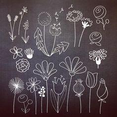 """Hand drawn florals (@forlagetunicorn) on Instagram: """"Blomster er de smukkeste skabeloner. Tegn dem enkeltvis eller mange sammen og brug dem som…"""""""