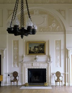 The Top Hall at Nostell, designed by Robert Adam and with hall chairs by Thomas Chippendale