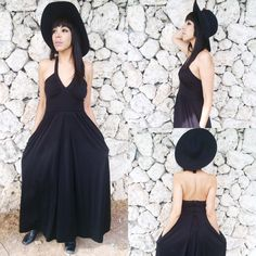 Vintage 70s Goth Black Polyester Halter Neck Empire Waist Maxi Dress M // S $60.00 https://www.etsy.com/listing/204454735/vintage-70s-goth-black-polyester-halter?ref=related-0