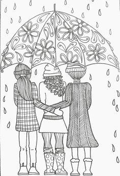 Prettiest Umbrella Girl Coloring Page Favecrafts Com Crafts