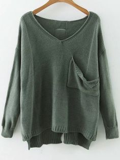 22$ Watch now - http://dipnd.justgood.pw/go.php?t=7200 - Green V Neck Drop Shoulder Dip Hem Sweater With Pocket 22$