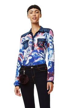 Desigual Damen Blaue Bluse im Arty Stil Mila #damenbluse #damenmode