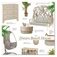 """VACATION VIBES: DREAM BEACH HOUSE"" by larissa-takahassi ❤ liked on Polyvore featuring interior, interiors, interior design, home, home decor, interior decorating, John Lewis, DutchCrafters, Nearly Natural and contemporary"
