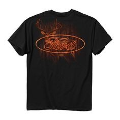 <Deer background with Ford Logo in Flames> -Heavyweight 6.5oz 100% cotton tee -Short set-in sleeves and a two needle hem around the sleeves and bottom -Official Licensed Product -Comfort cut for maximum maneuverability -Seamless rib knit collar reinforced with a cover seamed front neck and t...