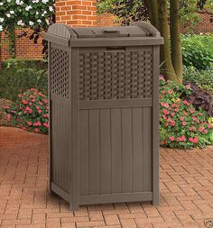 This #ResinWicker #Outdoor lets you present your best look to your guests and neighbors. It utilizes contemporary styling to keep your #garbagecans out of view.   This #trashcan hideaway is made from durable resin so it holds up to years of heavy-duty conditions. These hideaways can each easily hold 30- or 33-gallon bags, which lets you place your entire household's garbage in a single location. They feature latching lids, which keep racoons and other pests from being able to open them and…