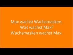 Deutsche Zungenbrecher - German tongue twisters: Max wachst Wachsmasken