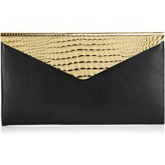 Jimmy Choo Charlize Black Gloss Leather Clutch Bag with Gold Flap