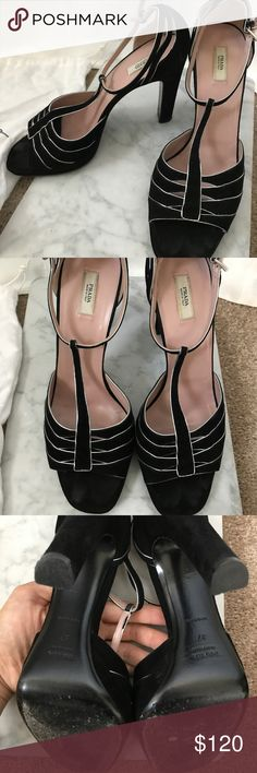 Black Prada Sandal Heels Beautiful velvet black with silver lining! Great for any dress up occasion! Prada Shoes Heels