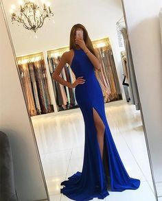 Royal Blue Long Mermaid Evening Dresses Backless Prom Gowns