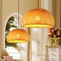 paddestoel korte moderne eetkamer hanglamp chinese stijl bamboe lamp led la...