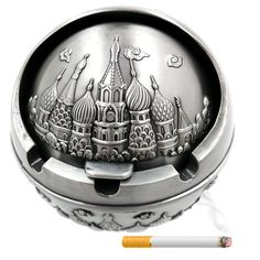 Tripolar Portable Cigarette Cigar Ashtray with Lid Antique Sophisticated Engraved Embossing Europe Wind-proof Art Decorative Ash Tray Holder Table Home Bar Decor for Men Smokers,Castle/Sliver *** Remarkable product available now. : Decor Ashtrays