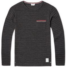 Thom Browne Long Sleeve Knitted Tee (Dark Grey)