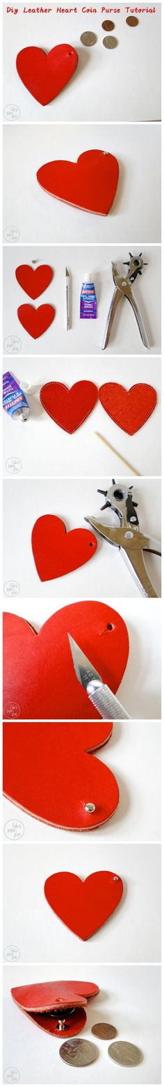 #Diy Leather #Heart Coin Purse #Tutorial