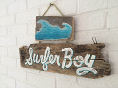 Surfer Boy Beach Sign Handmade on Reclaimed Wood Beach Baby Nursery Surfer Kids Room Beach Art Decor Surf Shack Mangoseed by Christina Rowe by MangoSeed on Etsy https://www.etsy.com/listing/237742028/surfer-boy-beach-sign-handmade-on