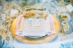 Gold & Pastel table setting rentals from Grand Event Rentals at www.grandeventrentalswa.com, photo credit: Lora Grady Photography, styled by: Simply by Tamara Nicole