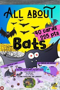 Speech Therapy Activities, Learning Activities, Teaching Resources, Halloween Math, Halloween Activities, Card Deck, Deck Of Cards, All About Bats, Amigurumi